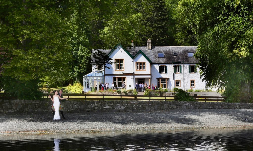 bride and groom at Altskeith