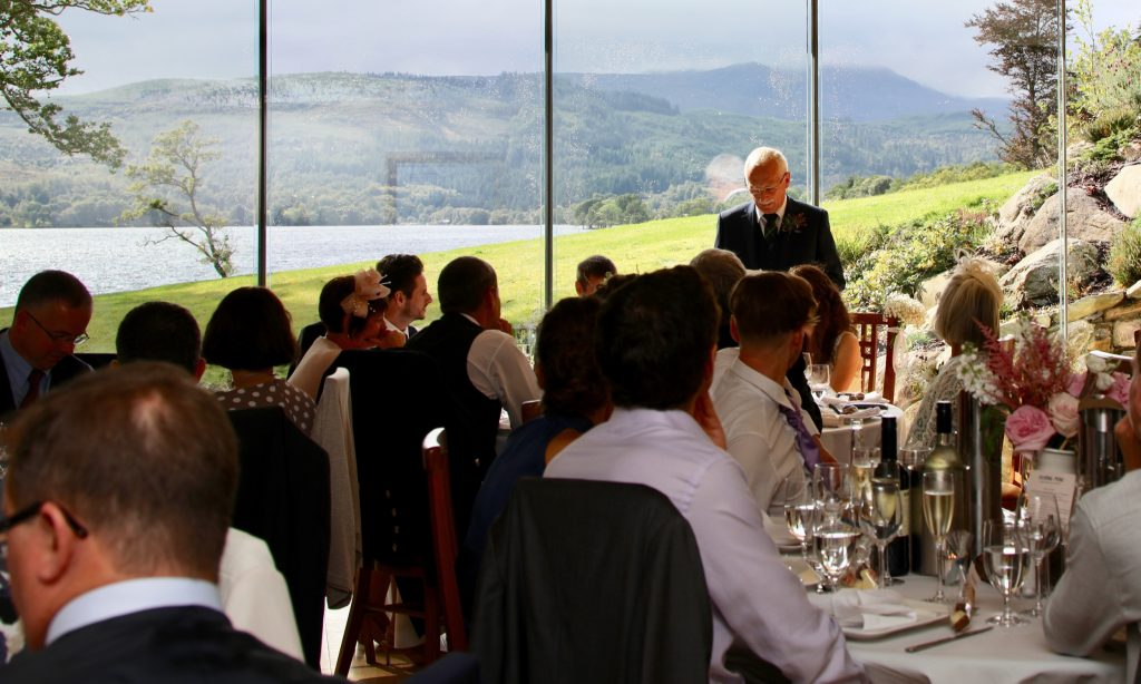 The speeches taking place during a wedding