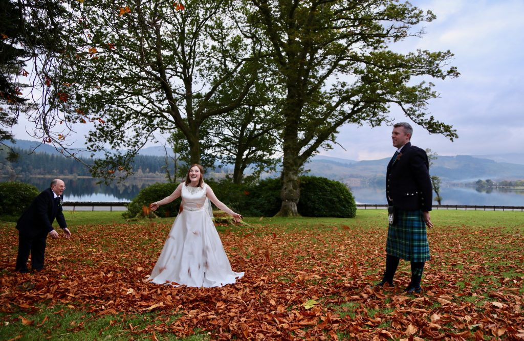 Wedding photographs captured in the garden during autumn