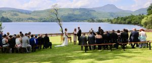Outdoor wedding ceremony at Altskeith